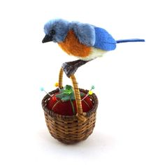 OOAK  2015 Janie Comito~  Spring  Blue Bird  ~ On Basket with Tomato Pin Cushion #Spring