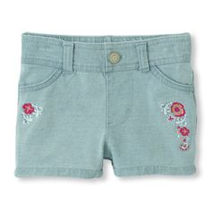 Embroidered Faux-Denim Knit Shorts