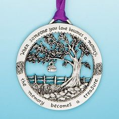 Merry Christmas Memorial Ornament - When Someone You Love Becomes a Memory Made of fine, lead-free pewter. Arrives in purple organza gift bag. Hand finished and beautifully detailed. Suction cup included for year round display. Sympathy Messages, Sympathy Quotes, Sympathy Gifts, Sympathy Cards, Memorial Ornaments, Memorial Gifts, Memorial Ideas, Memorial Jewelry, Christmas Tree Decorations