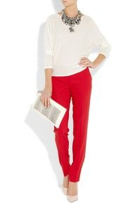 cream top, red pants