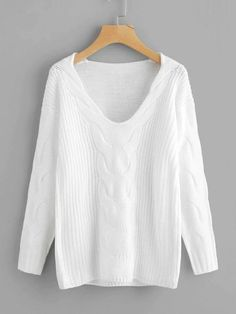 To find out about the Drop Shoulder Cable Knit Sweater at SHEIN, part of our latest Sweaters ready to shop online today! Cute Sweaters, Cable Knit Sweaters, Oversized Sweaters, Winter Sweaters, Pull Torsadé, Fashion Online Shop, Pullover Mode, White Sweater Dress, Cotton Sweater