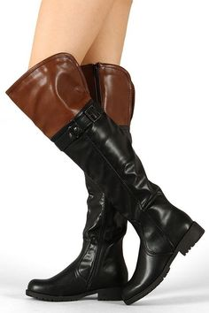 Lug-34HI Two Tone Round Toe Riding Knee High Boot #Lugs #RidingEquestrian