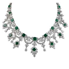 Harry Winston Magnificent Colombian Emerald Diamond Platinum Necklace | From a…