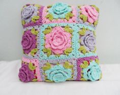 Crochet Pillow cover, cushion cover,  pillowcase,  Flower granny afghan motif, crocheted housewares, handmade cover, flower cushion cover