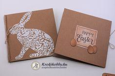 A mai blogbejegyzésben, natúr kraft képeslapokat készítünk el. Imádom az öntapadó papírt, hihetetlen jól lehet vele akár stencilt is készíteni. Tartsatok velem! Happy Easter, Container, Scrapbook, Diy, Happy Easter Day, Bricolage, Diys, Handyman Projects, Do It Yourself