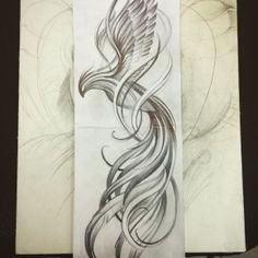 Love this Phoenix! I would color it in subdued tones with pops of fire Tattoo Calf, Tattoo Line, Tattoo Thigh, Phoenix Design, Phoenix Tattoo Design, Tattoo Phoenix, Pretty Tattoos, Beautiful Tattoos, Tattoo Ave Fenix