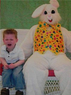 Um... Little weird, bet that kid is scared of easter bunnies for life!