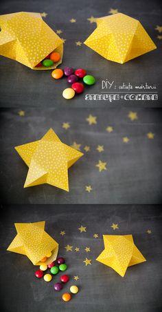 3D star favor box DIY on the blog Origami Day, Origami Stars, Origami Paper, Origami Gift Box, Origami Candy Box, 3d Paper Star, Paper Stars, 3d Star, Diy Christmas Star