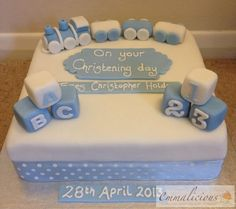 Pastel Blue Christening Cake
