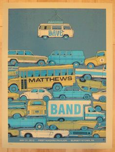 "Dave Matthews Band - silkscreen concert poster (click image for more detail) Artist: Methane Studios Venue: First Niagara Pavilion Location: Burgettstown, PA Concert Date: 5/31/2013 Size: 24"" x 18"" Ed"