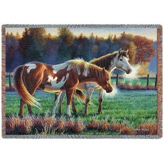 "Pasture Buddies (Horses) | Tapestry Blanket | 70"" x 53"""