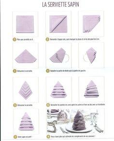Pliage de serviette en forme de sapin