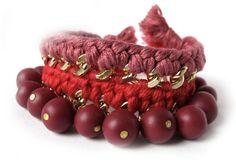 Red burgundry statement bracelet. $30.00, via Etsy.