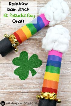This Rainbow Rain Stick St. Patrick's Day Craft is a fun class project for you and your students this March! Perfect for a St. Patrick's Day class party! #stpatricksday #kidscrafts #teachersfollowteachers