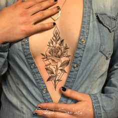 underboob tattoo lotus rose