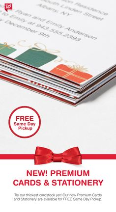 Send season's greetings on our best cardstock yet! Our new Premium Cards and Stationery offers hundreds of designs, return address printing and FREE Same Day Pickup at select locations.