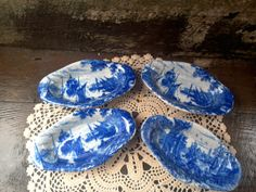 SET OF 4  Blue Transferware China Porcelain by CottonCreekCottage, $26.99