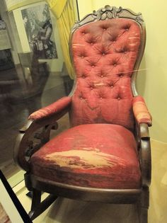 This is the actual chair that President Lincoln was sitting in at the Ford Theater on the evening of April 14, 1865.
