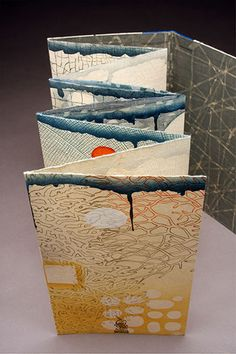 Ephemera artists book by Karen Kunc - woodcut, polymer relief, letterpress BOOK Concertina Book, Accordion Book, Book Art, Up Book, Paper Book, Paper Art, Libros Pop-up, Book Sculpture, Handmade Books