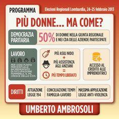 Infografica su Donne - programma di Umberto Ambrosoli candidato presidente alla Regione Lombardia nel 2013