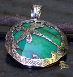 Antiqued Etched Sterling Silver Turquoise Dragonfly Pendant Bali Jewelry