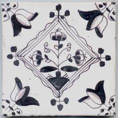 Delft tile with manganese decoration of tulips, Holland, c. 1850