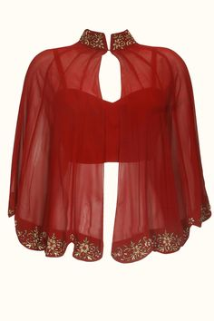 Ox blood floral zardozi embroidered scalloped cape