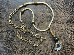 Tiger's Eye and Agate Geode with Upcycled Gold Textured Fishing Bead, on a Pearl and Chunky Chain by REJuledHomesStones on Etsy