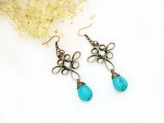 Wrapped earrings turquoise earrings copper by MargoHandmadeJewelry