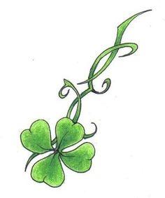 Four Leaf Clover Tattoos - Tattoo world Four Leaf Clover Tattoo, Clover Tattoos, Frog Tattoos, Vine Tattoos, Irish Tattoos, Celtic Tattoos, Leaf Tattoos, Body Art Tattoos, Tattoo Papillon