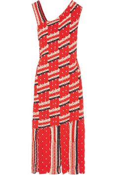 """Tabula Rasa founder and knitwear expert Emily Diamandis is inspired by """"her passion for the well-traveled life."""" Deftly woven from colorful panels of cotton macramé, this 'Anat' dress has a shoulder-framing neckline and a carwash hem. It's surprisingly versatile - wear it as a coverup over a bikini or to a cocktail party with heels and a clutch."""