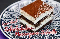 Schokoladen-Mascarpone-Schnitte Low-Carb - Ein leckerer Kuchen mit herrlicher Mascarponecreme, ganz ohne Zucker gebacken. Tiramisu mal anders.