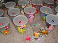 The Learning Curve: Articulation Therapy with Preschool Children I love this - each container a different letter/sound. I think Ill do this with my little one. Articulation Therapy, Articulation Activities, Speech Activities, Therapy Activities, Preschool Activities, Therapy Ideas, Phonics, Language Activities, Therapy Games