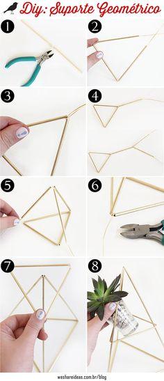 DIY: Suporte Geométrico para Plantas geometric support for plants with metallic straw. Terrarium Wedding, Jewel Tone Wedding, Diy Tumblr, Ideias Diy, Diy Home Crafts, Cool Diy Projects, Plant Holders, Craft Party, Diy Room Decor