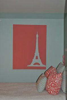 "Eiffel tower silhouette art for ""Fancy Nancy"" style bedroom Paris Room Decor, Paris Bedroom, Eiffel Tower Silhouette, Eiffel Tower Painting, Silhouette Painting, Fancy Nancy, Room Accessories, Paint Party, Easy Paintings"