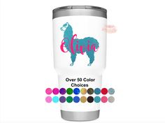 Excited to share this item from my #etsy shop: Llama Decal - Cup Decal - Name Decal - Llama Sticker - Car Decal - Tumbler Decal - Vinyl Decal - Gift for her Car Decal, Vinyl Decals, Birthday Cup, Yeti Cup, Personalised Box, Brides And Bridesmaids, Car Stickers, Graduation Gifts, Tumbler