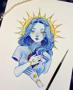 Maiden Made of Light (not my art! Cartoon Kunst, Anime Kunst, Cartoon Art, Anime Art, Kunst Inspo, Art Inspo, Fantasy Kunst, Fantasy Art, Pretty Art