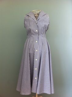 Stunning Sleeveless Navy Dress Blue & White by PickMeMrsLee
