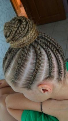Cornrows with a bun on top latinhairstyles – Hair Ideas Gym Hairstyles, Cool Braid Hairstyles, Gymnastics Meet Hair, Cute Little Girl Hairstyles, Natural Hair Styles, Long Hair Styles, Cool Braids, Girls Braids, Hair Beads