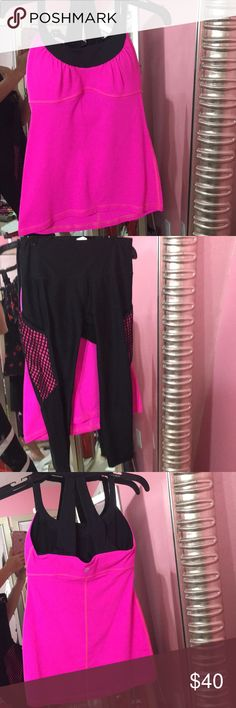 Sexy Lululemon/RBX 2pc. Gym Outfit Bundle 🔥SHOWSTOPPER🔥Slay this UNIT: hot pink/black Lululemon Athletica scoop neck tank in great condition, no flaws-missing rip tag and size dot but padding is still inside & all my tops are size 6 in Lulu so I am 💯 on sizing(see website for measurements) Perfectly Matching Small RBX Black Capris w/ sheer mesh accents on outer calf area, hot pink/black fishnet large cell phone pockets located on both hips makes these my fave go-to workout bottoms💯🎀‼️…