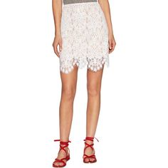 For Love and Lemons Women's Lyla Lace Mini Skirt - Cream/Tan - Size XS ($59) ❤ liked on Polyvore featuring skirts, mini skirts, short mini skirts, white scalloped skirt, white lace skirt, scalloped lace mini skirt and lace mini skirt