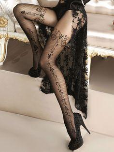 Collants noirs Alluria dentelle motif floral résille sexy burlesque