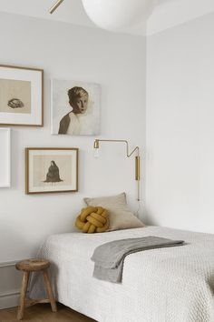 my scandinavian home: A beautiful bedroom in a small Swedish space in creams and milky whites