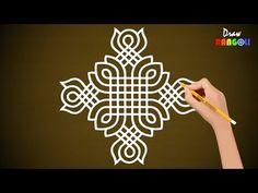 Simple New Padi Kolam Easy Rangoli Designs Videos, Rangoli Designs Simple Diwali, Rangoli Simple, Indian Rangoli Designs, Rangoli Designs Latest, Rangoli Designs Flower, Free Hand Rangoli Design, Rangoli Border Designs, Small Rangoli Design