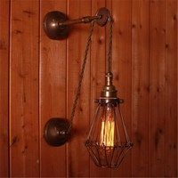 Vintage Adjustable Wall Light with Pulley and Cage Retro Lighting, Interior Lighting, Cool Lighting, Modern Lighting, Lighting Ideas, Vintage Wall Lights, Modern Wall Lights, Pulley Light, Decor Around Tv