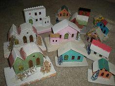 LOT 13 PUTZ GLITTER CARDBOARD CHRISTMAS HOUSES FIREPLACE VILLAGE VARIETY TREES