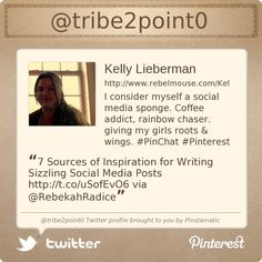 Kelly Lieberman is the host of #PInChat and is by far the most knowledgeable person on Pinterest tips, tricks and tools.    @tribe2point0's Twitter profile courtesy of @Pinstamatic (http://pinstamatic.com)
