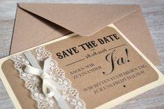 Save the Date - Karten zur Hochzeit Vintage Spitze von Velvet Design auf DaWanda.com