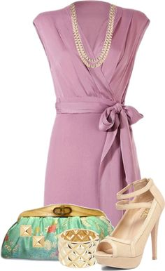 """""""Lavender Wrap Dress"""" by glamatarian ❤ liked on Polyvore"""
