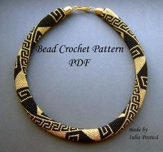 Pattern for bead crochet necklace Greek Meanders by BeadedTreasury, $9.00